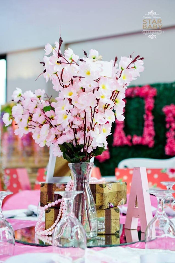 Cherry Blossom Blooms + Table Centerpiece from a Pink Cherry Blossom Christening Party on Kara's Party Ideas | KarasPartyIdeas.com (7)