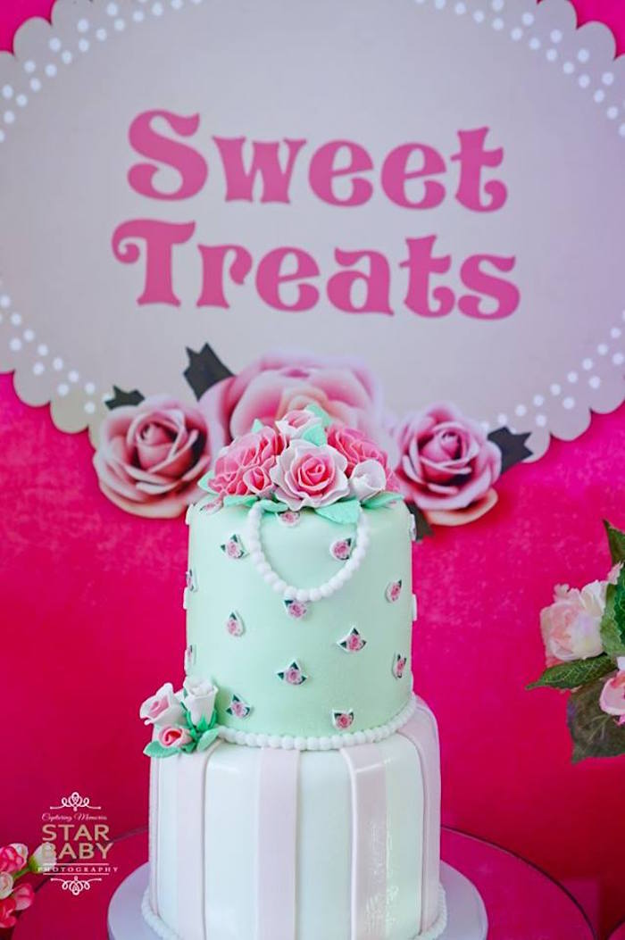 Cake from a Pink Cherry Blossom Christening Party on Kara's Party Ideas | KarasPartyIdeas.com (6)