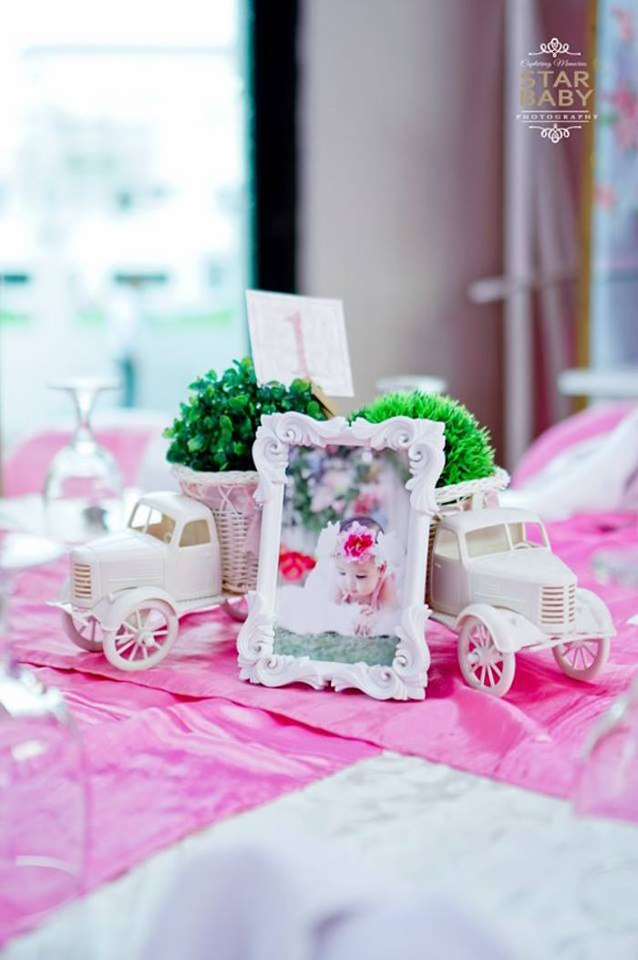Guest Table Centerpiece from a Pink Cherry Blossom Christening Party on Kara's Party Ideas | KarasPartyIdeas.com (5)