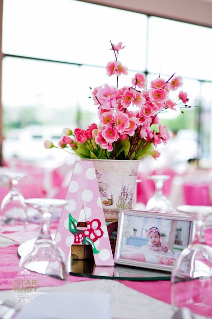 Cherry Blossom Table Centerpiece from a Pink Cherry Blossom Christening Party on Kara's Party Ideas | KarasPartyIdeas.com (4)
