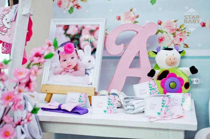 "Babies ""Firsts"" Party Table from a Pink Cherry Blossom Christening Party on Kara's Party Ideas 