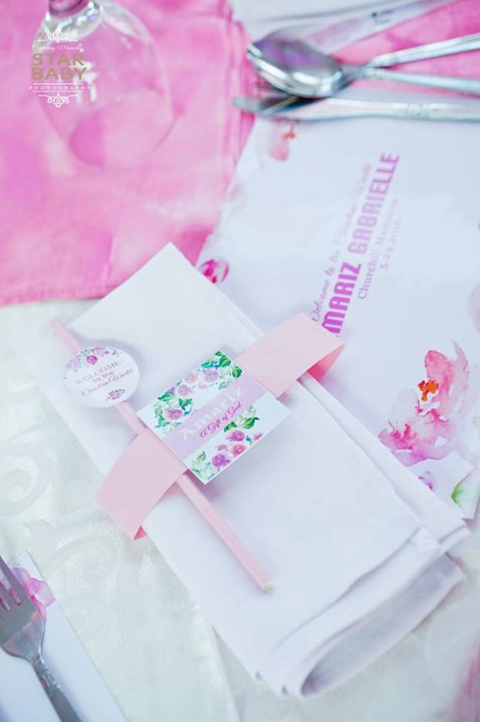 Utensil Pack from a Pink Cherry Blossom Christening Party on Kara's Party Ideas | KarasPartyIdeas.com (28)