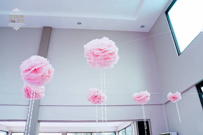 Pink Pom Pom Ceiling from a Pink Cherry Blossom Christening Party on Kara's Party Ideas | KarasPartyIdeas.com (26)