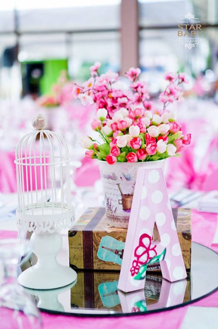 Guest Table + Centerpiece from a Pink Cherry Blossom Christening Party on Kara's Party Ideas | KarasPartyIdeas.com (25)
