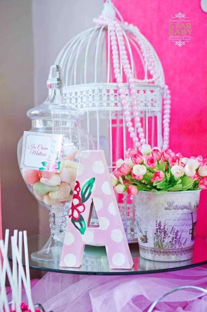 Guest Table Centerpiece from a Pink Cherry Blossom Christening Party on Kara's Party Ideas | KarasPartyIdeas.com (24)