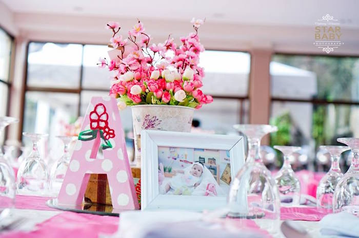 Guest Table from a Pink Cherry Blossom Christening Party on Kara's Party Ideas | KarasPartyIdeas.com (23)