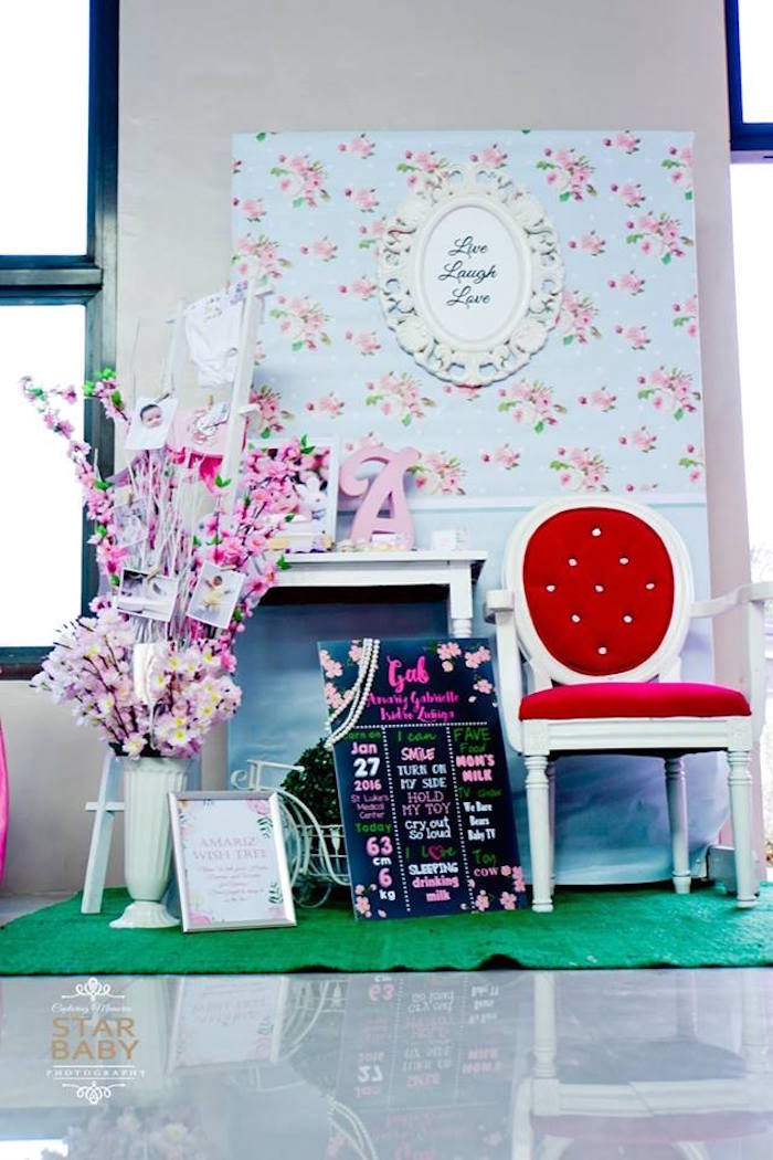 Highlight Lounge from a Pink Cherry Blossom Christening Party on Kara's Party Ideas | KarasPartyIdeas.com (22)