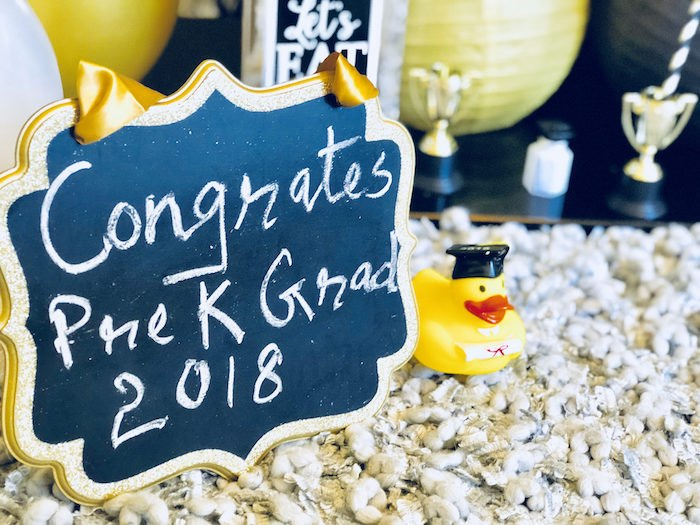Grad Chalkboard and Rubber Duck from a Preschool Graduation Party on Kara's Party Ideas | KarasPartyIdeas.com (14)