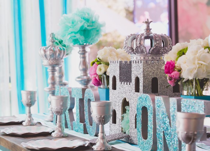 Glitter Castle Guest Tablescape from a Prince Themed Birthday Party on Kara's Party Ideas | KarasPartyIdeas.com (14)
