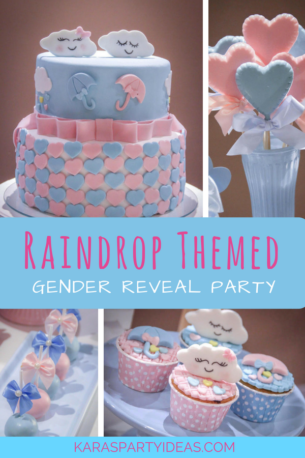 Raindrop Themed Gender Reveal Party via Kara_s Party Ideas - KarasPartyIdeas.com