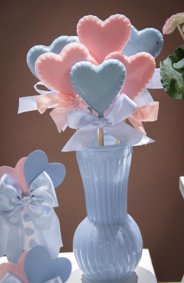 Chocolate Heart Lollipops from a Raindrop Themed Gender Reveal Party on Kara's Party Ideas | KarasPartyIdeas.com (7)