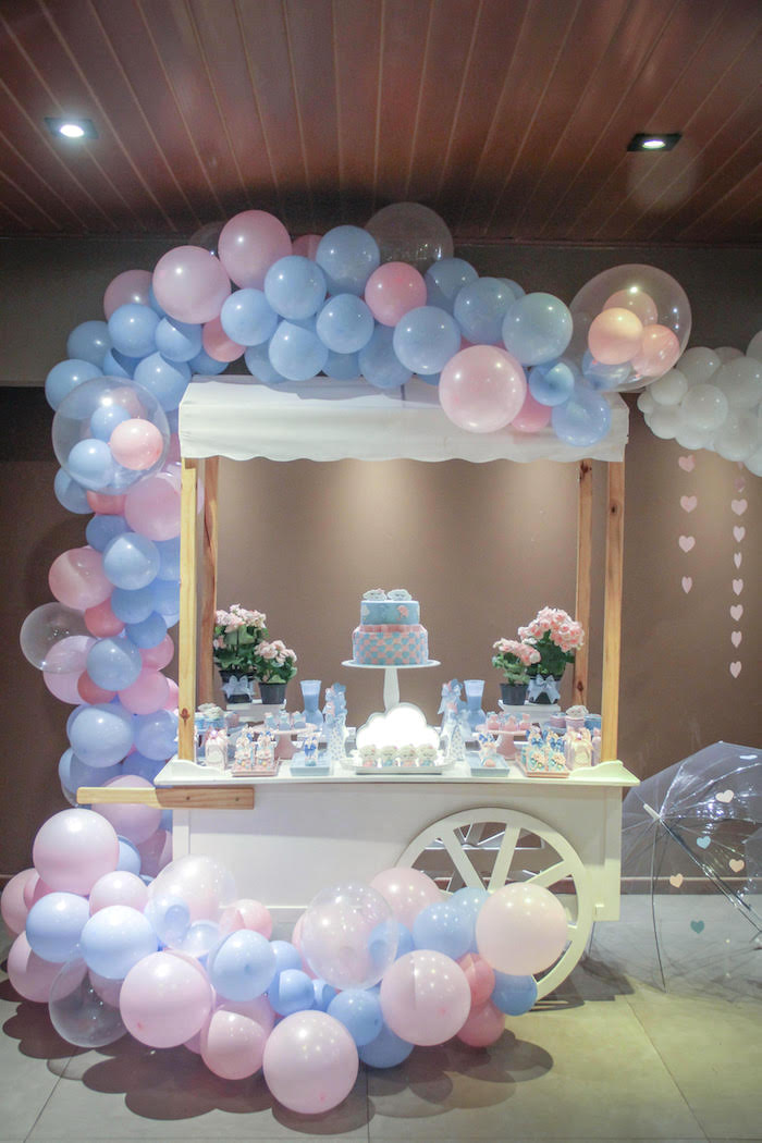 Rain-inspired Dessert Table from a Raindrop Themed Gender Reveal Party on Kara's Party Ideas   KarasPartyIdeas.com (18)