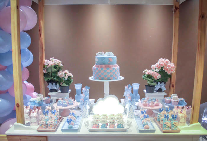 Rain Themed Dessert Table from a Raindrop Themed Gender Reveal Party on Kara's Party Ideas | KarasPartyIdeas.com (17)