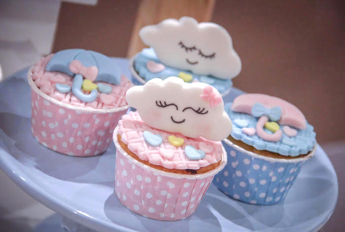Rain-inspired Cupcakes from a Raindrop Themed Gender Reveal Party on Kara's Party Ideas | KarasPartyIdeas.com (13)