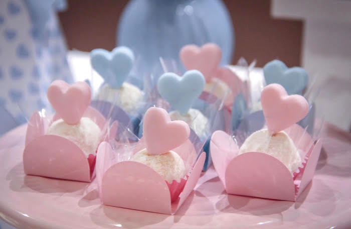Blue and Pink Heart-topped Truffles from a Raindrop Themed Gender Reveal Party on Kara's Party Ideas | KarasPartyIdeas.com (12)