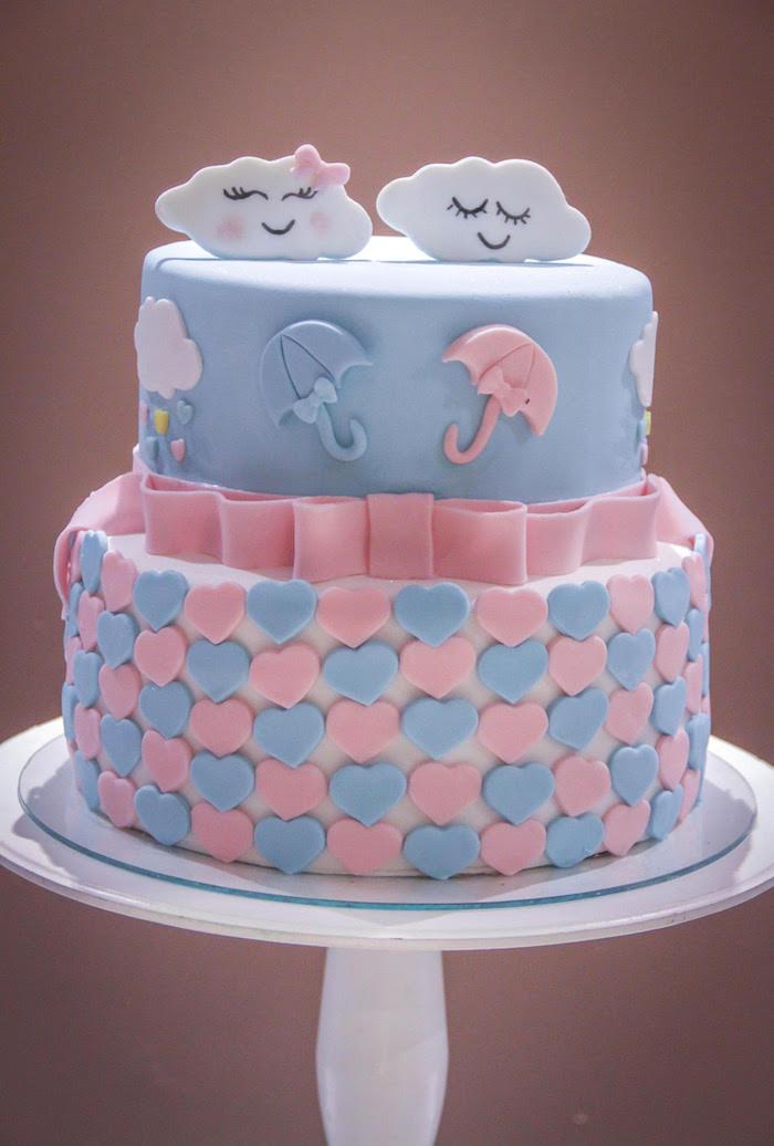 Rain Themed Cake from a Raindrop Themed Gender Reveal Party on Kara's Party Ideas   KarasPartyIdeas.com (11)