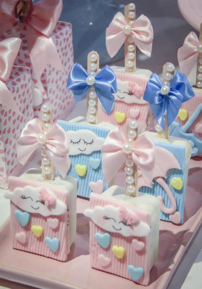 Raincloud Crispy Treats from a Raindrop Themed Gender Reveal Party on Kara's Party Ideas   KarasPartyIdeas.com (10)