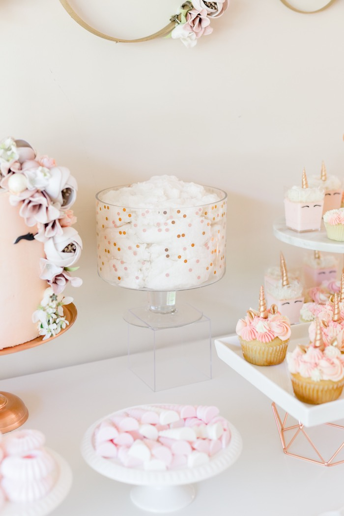 Cloud Cotton Candy from a Rose Gold & Blush Pink Unicorn Party on Kara's Party Ideas | KarasPartyIdeas.com (33)