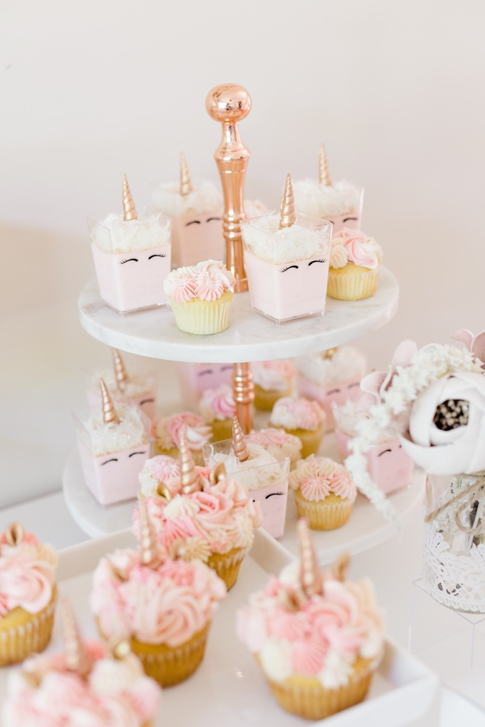 Unicorn Dessert Cups From A Rose Gold Blush Pink Party On Karas Ideas
