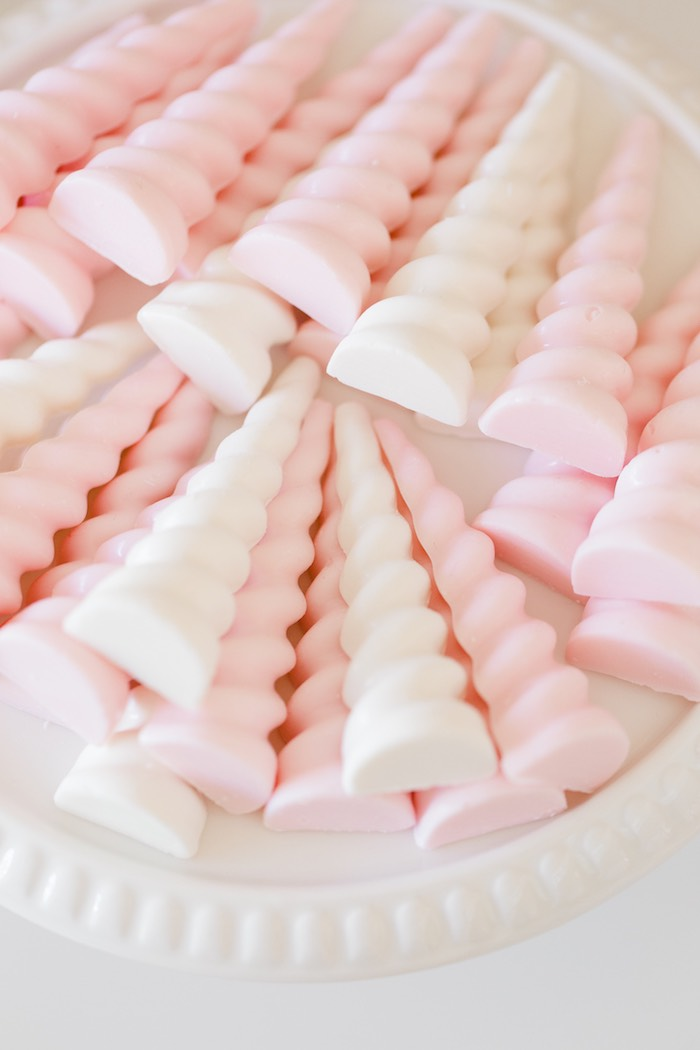 Unicorn Horn Chocolates from a Rose Gold & Blush Pink Unicorn Party on Kara's Party Ideas | KarasPartyIdeas.com (28)