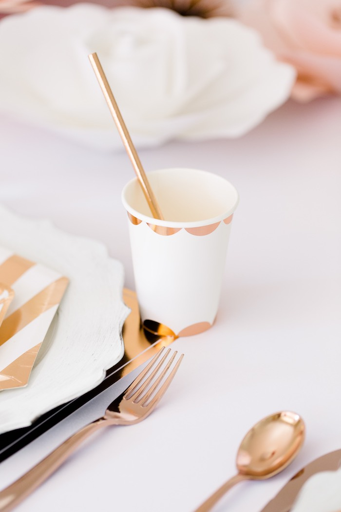 White Glam Cup from a Rose Gold & Blush Pink Unicorn Party on Kara's Party Ideas | KarasPartyIdeas.com (25)