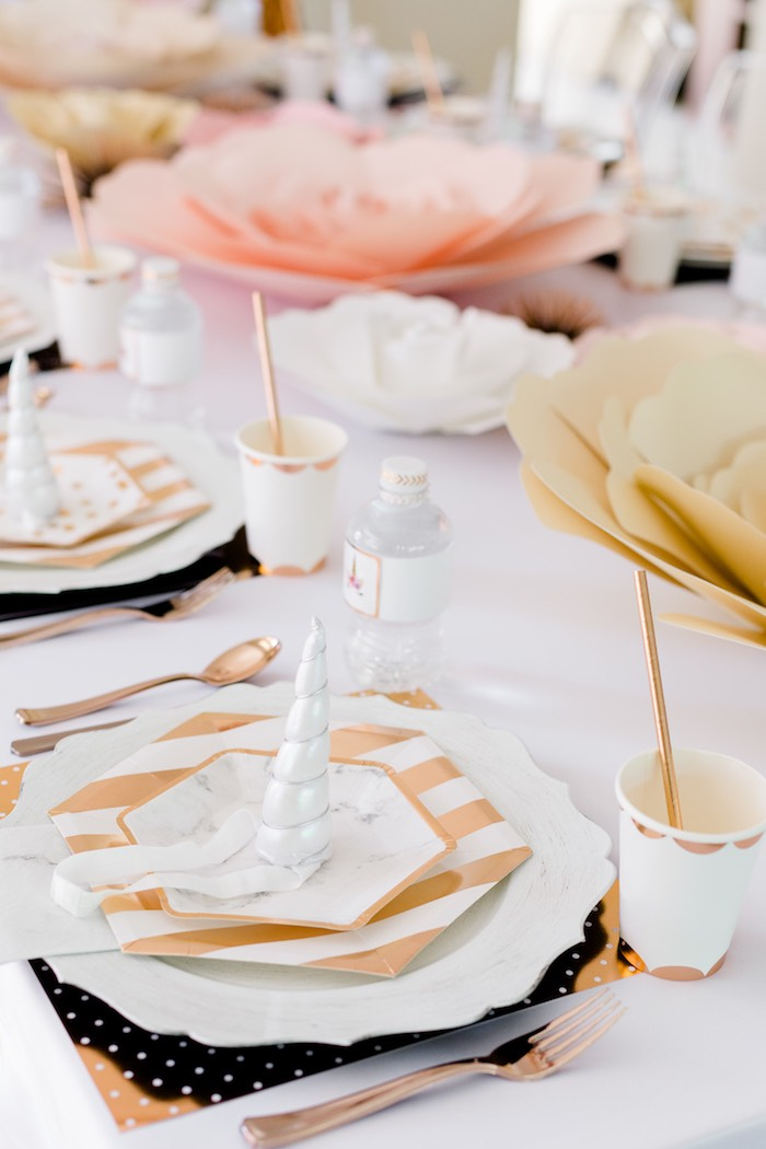 Modern Glam Table Setting from a Rose Gold & Blush Pink Unicorn Party on Kara's Party Ideas | KarasPartyIdeas.com (24)