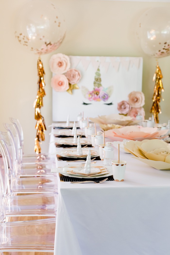 Guest Table from a Rose Gold & Blush Pink Unicorn Party on Kara's Party Ideas | KarasPartyIdeas.com (23)