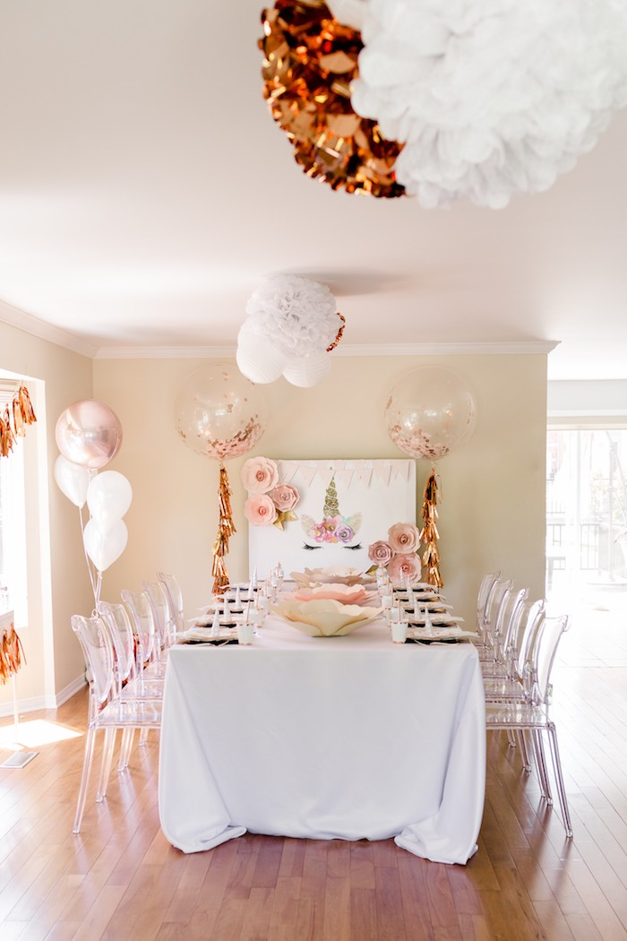Guest Table from a Rose Gold & Blush Pink Unicorn Party on Kara's Party Ideas | KarasPartyIdeas.com (22)