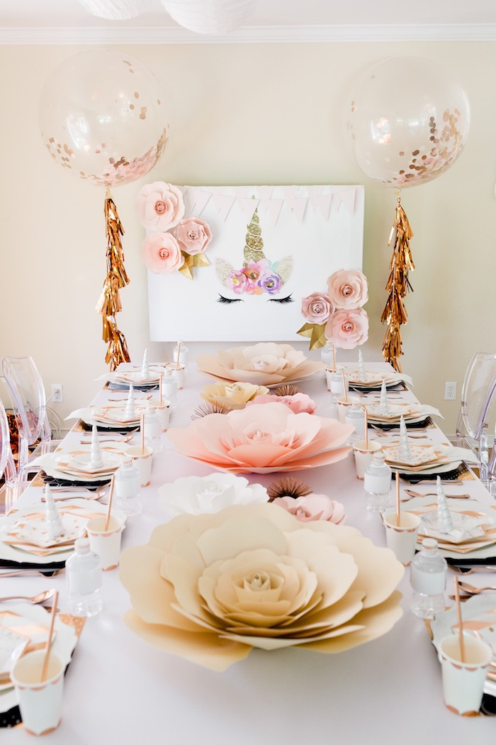Guest Table from a Rose Gold & Blush Pink Unicorn Party on Kara's Party Ideas | KarasPartyIdeas.com (21)