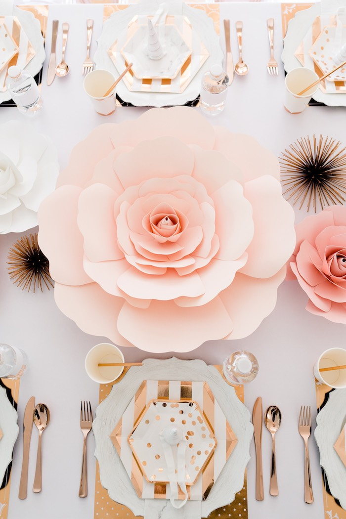 Paper Flower Table Decoration from a Rose Gold & Blush Pink Unicorn Party on Kara's Party Ideas | KarasPartyIdeas.com (20)