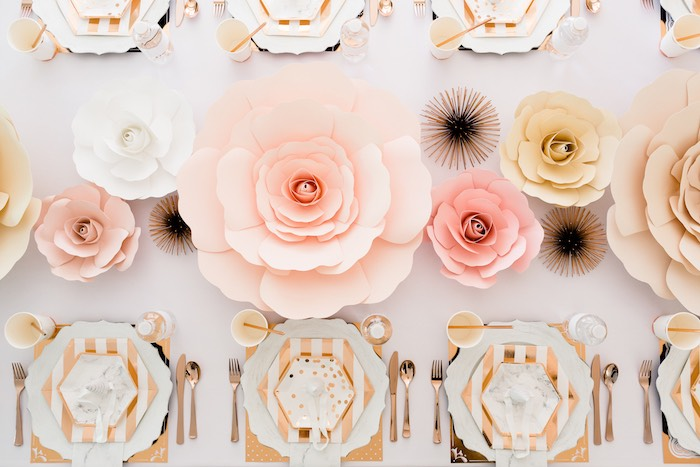 Paper Flower Table Runner + Guest Tabletop from a Rose Gold & Blush Pink Unicorn Party on Kara's Party Ideas | KarasPartyIdeas.com (19)