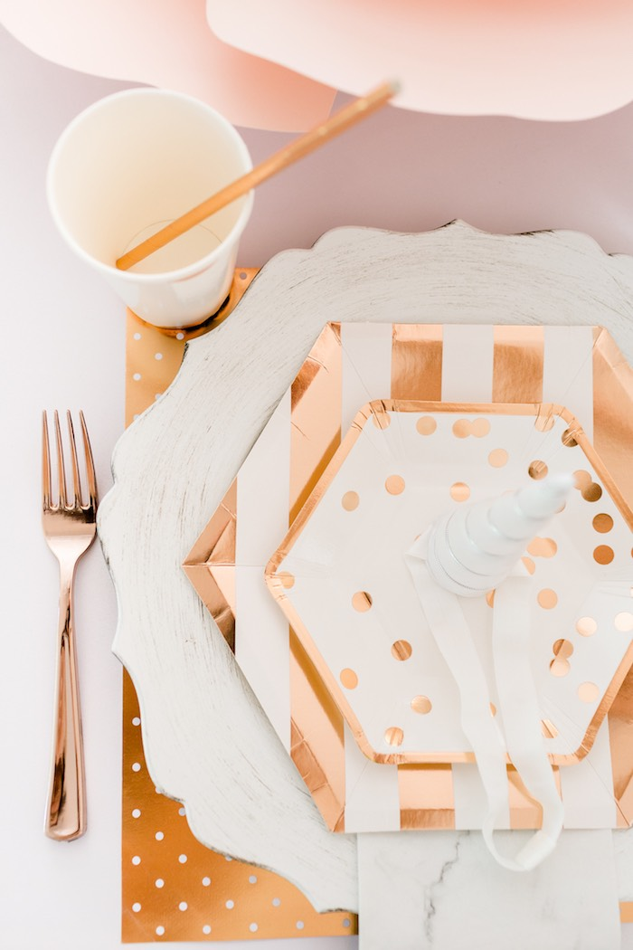 Modern Glam Table Setting from a Rose Gold & Blush Pink Unicorn Party on Kara's Party Ideas | KarasPartyIdeas.com (18)