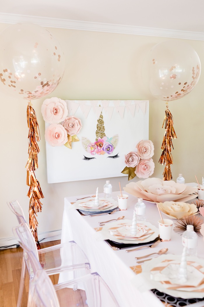 Unicorn Backdrop from a Rose Gold & Blush Pink Unicorn Party on Kara's Party Ideas | KarasPartyIdeas.com (17)