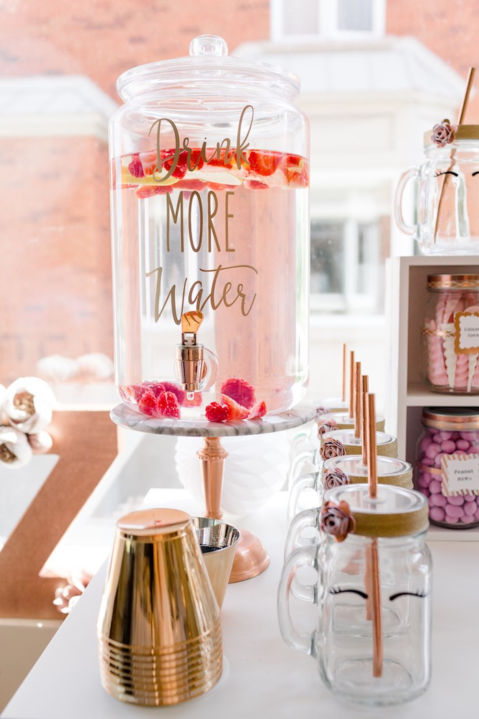Beverage Dispense from a Rose Gold & Blush Pink Unicorn Party on Kara's Party Ideas | KarasPartyIdeas.com (16)