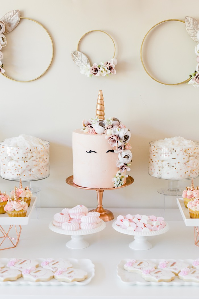 Unicorn Cake from a Rose Gold & Blush Pink Unicorn Party on Kara's Party Ideas | KarasPartyIdeas.com (43)