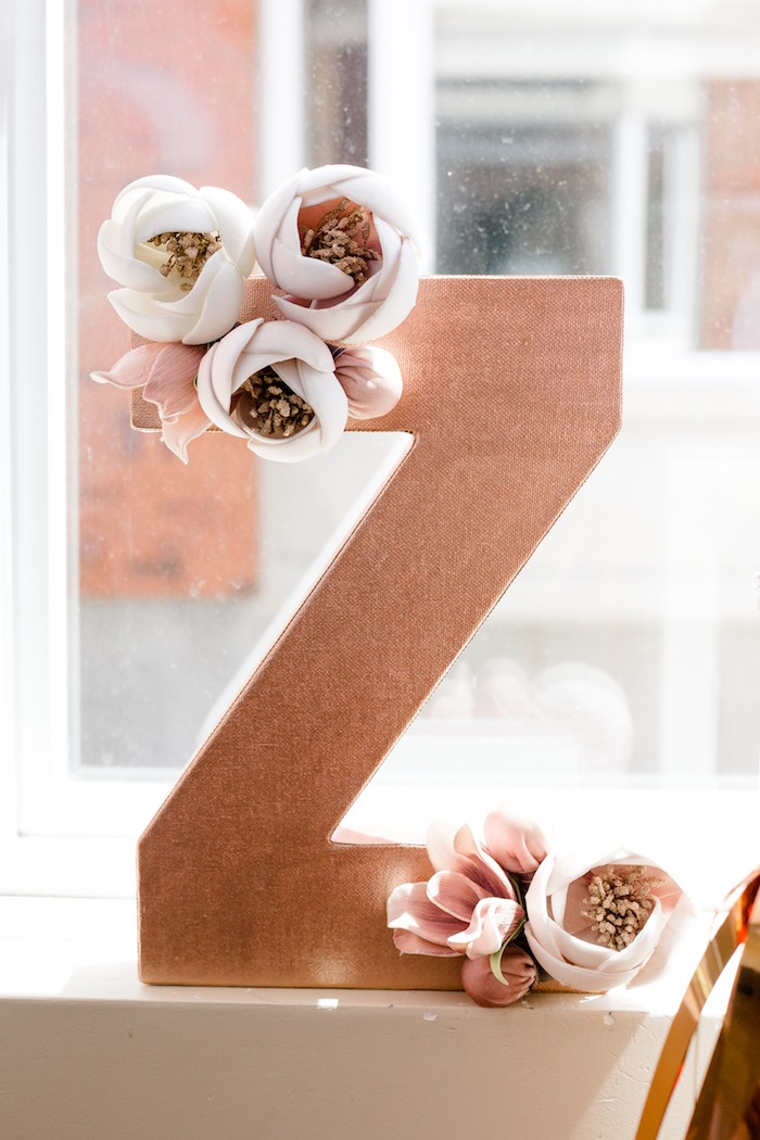 "Glam Floral ""z"" from a Rose Gold & Blush Pink Unicorn Party on Kara's Party Ideas 