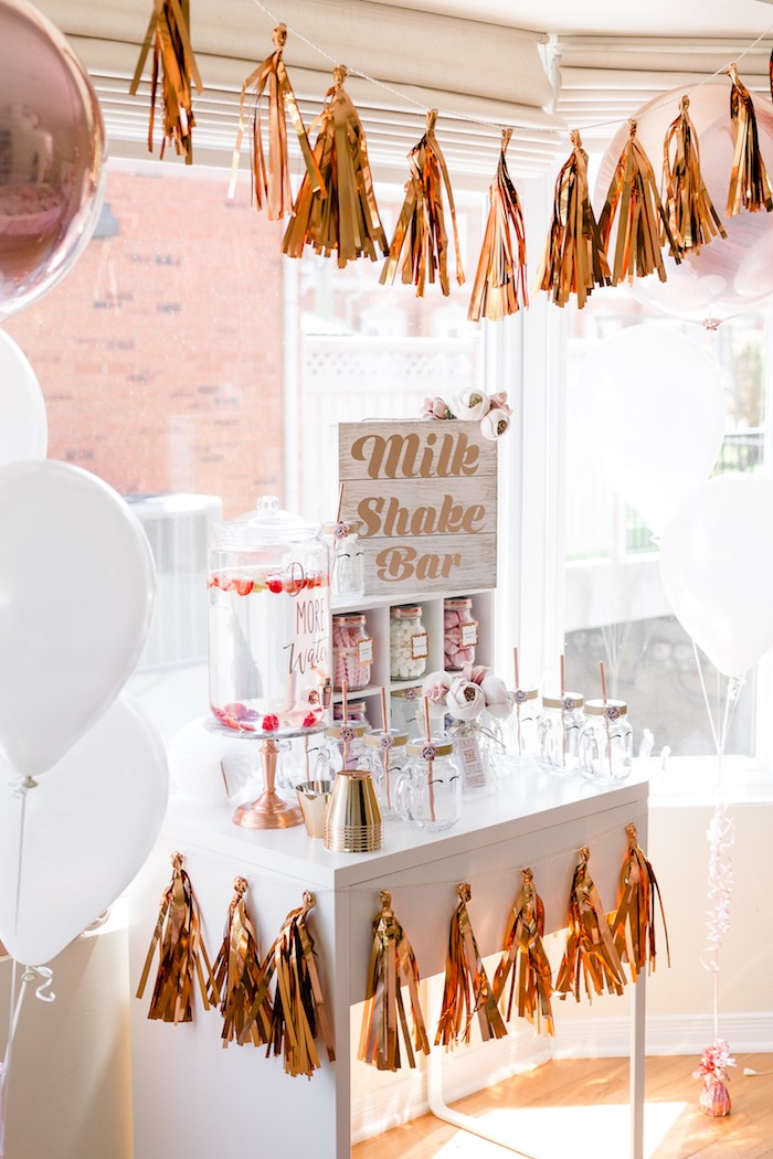 Milk Shake Bar from a Rose Gold & Blush Pink Unicorn Party on Kara's Party Ideas | KarasPartyIdeas.com (10)