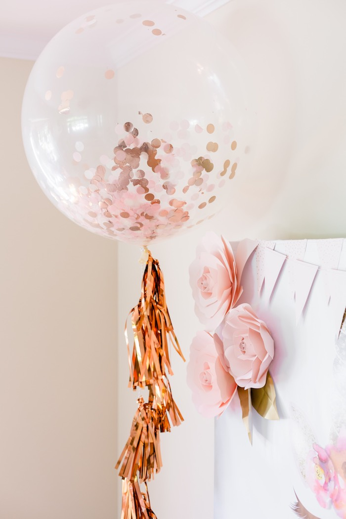 Jumbo Confetti Balloons from a Rose Gold & Blush Pink Unicorn Party on Kara's Party Ideas | KarasPartyIdeas.com (8)