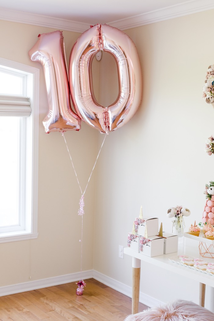 Rose Gold Mylar Balloons from a Rose Gold & Blush Pink Unicorn Party on Kara's Party Ideas | KarasPartyIdeas.com (41)