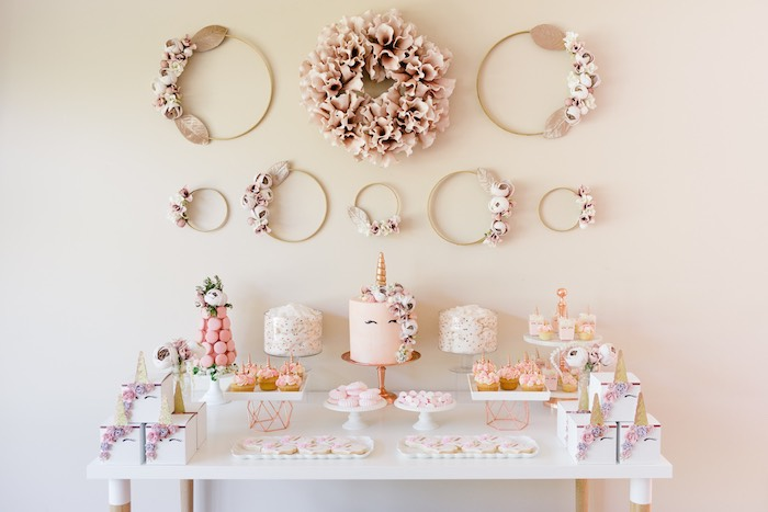 Unicorn-inspired Dessert Table from a Rose Gold & Blush Pink Unicorn Party on Kara's Party Ideas | KarasPartyIdeas.com (40)