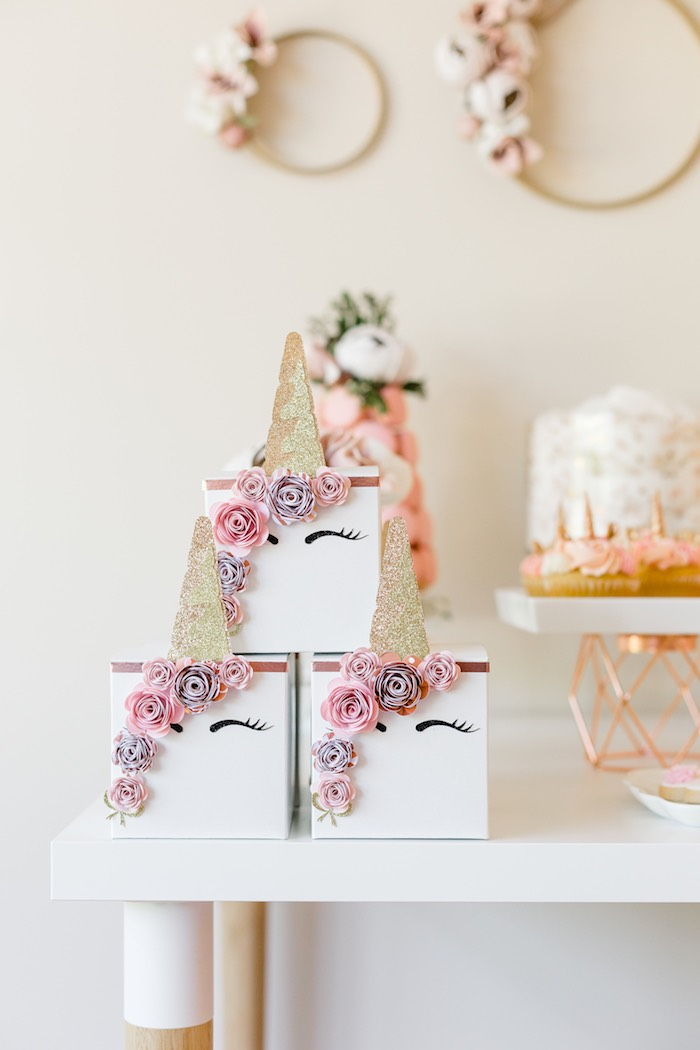 Unicorn Favor Boxes from a Rose Gold & Blush Pink Unicorn Party on Kara's Party Ideas | KarasPartyIdeas.com (39)