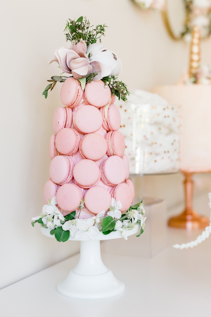 Pink Macaron Tower from a Rose Gold & Blush Pink Unicorn Party on Kara's Party Ideas | KarasPartyIdeas.com (38)