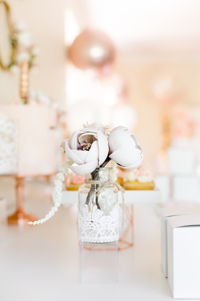 Flower Table Centerpiece from a Rose Gold & Blush Pink Unicorn Party on Kara's Party Ideas | KarasPartyIdeas.com (37)