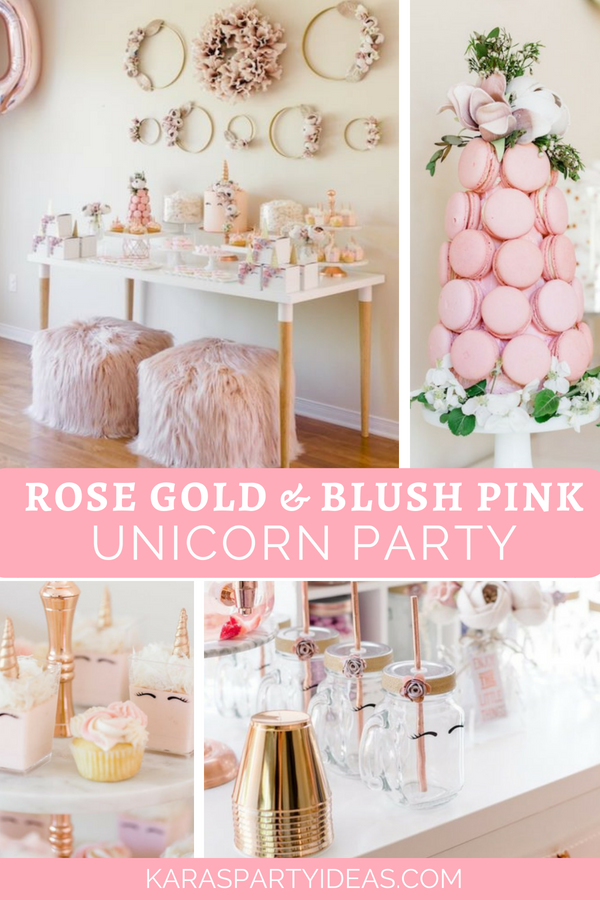 Rose Gold & Blush Pink Unicorn Party via Kara's Party Ideas - KarasPartyIdeas.com