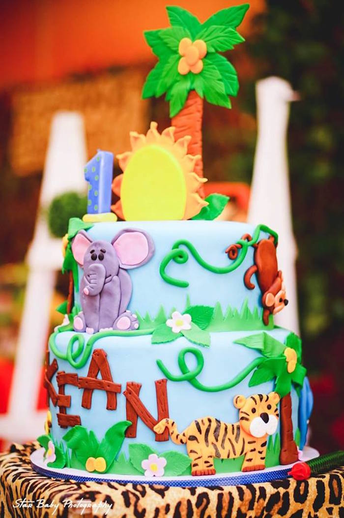 Safari Themed Birthday Cake from a Safari Adventure Birthday Party on Kara's Party Ideas | KarasPartyIdeas.com (25)