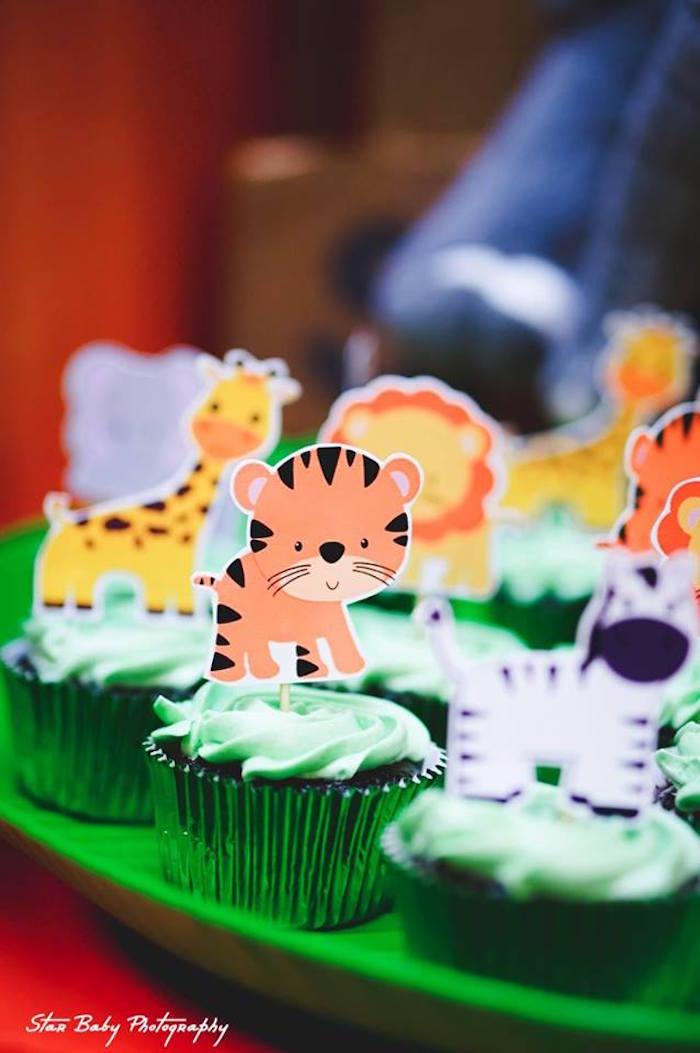 Safari Animal Cupcakes from a Safari Adventure Birthday Party on Kara's Party Ideas | KarasPartyIdeas.com (6)