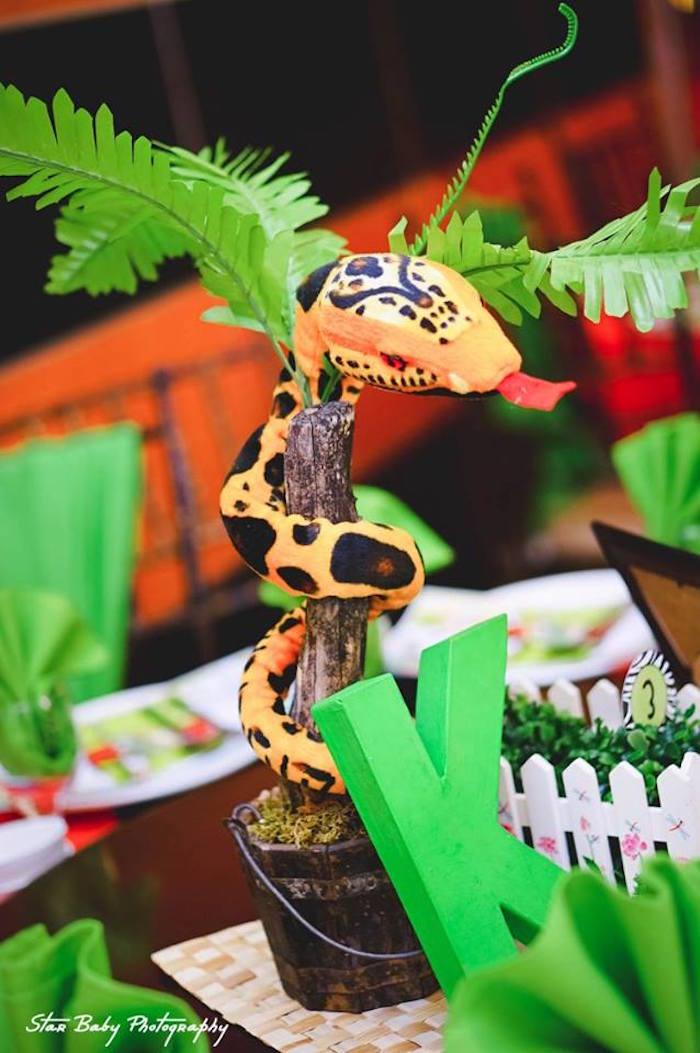 Snake Centerpiece from a Safari Adventure Birthday Party on Kara's Party Ideas | KarasPartyIdeas.com (4)