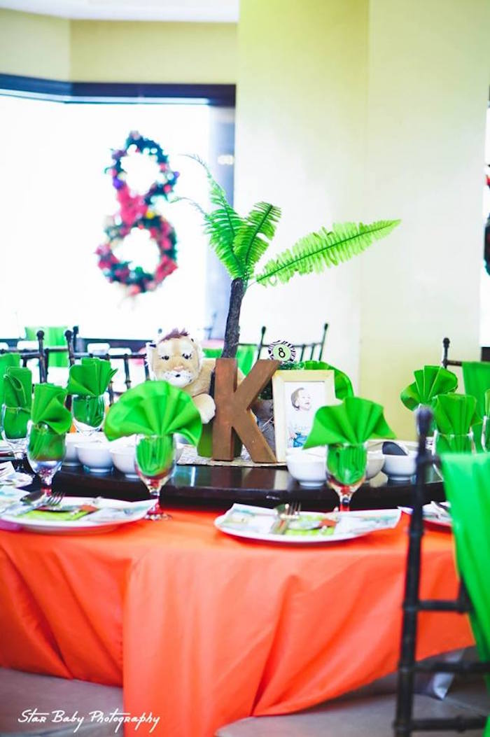 Safari Themed Guest Table from a Safari Adventure Birthday Party on Kara's Party Ideas | KarasPartyIdeas.com (24)