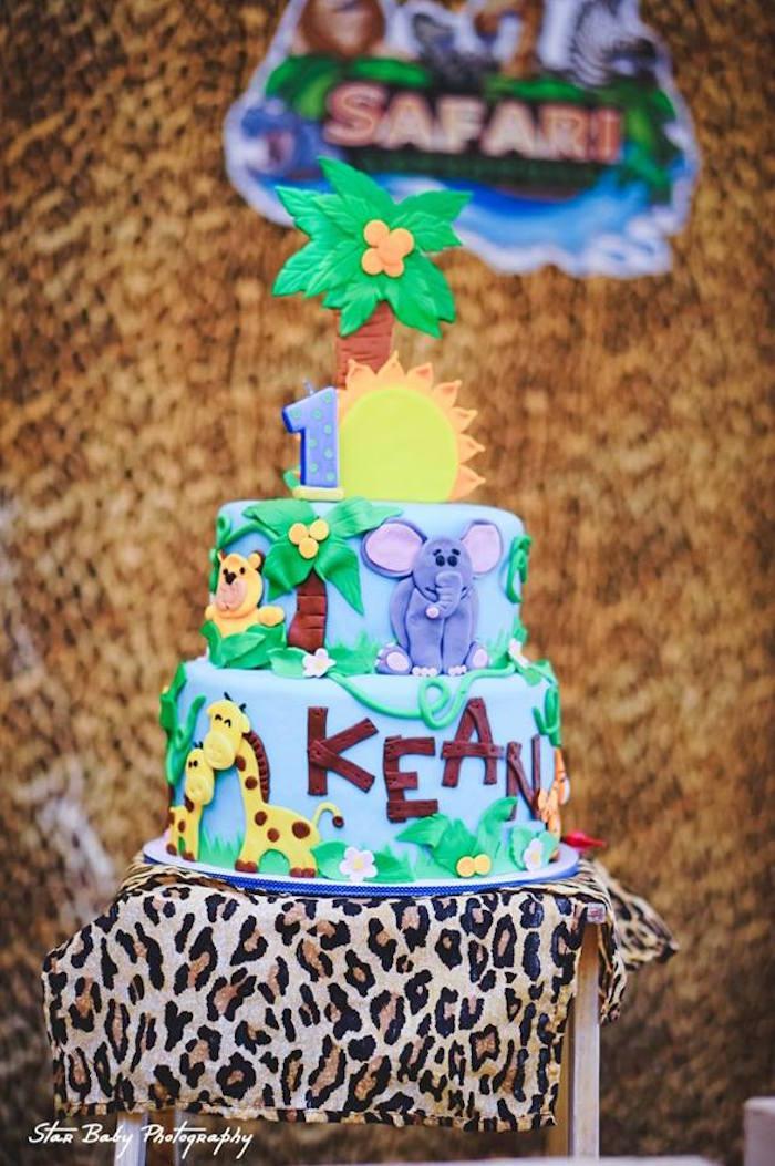 Safari Themed Birthday Cake from a Safari Adventure Birthday Party on Kara's Party Ideas | KarasPartyIdeas.com (20)