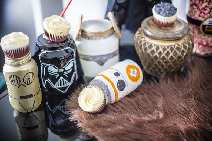Star Wars Character Jars + Cupcakes from a Star Wars Birthday Party on Kara's Party Ideas | KarasPartyIdeas.com (9)